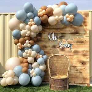 135pcs Brown And Blue Balloon Arch Set Baby Shower Party Longan Craft Supplies