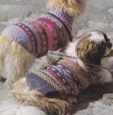 DOG COAT 2 PATTERNS sizes 46cm & 32cm - COPY dog coat knitting pattern