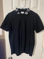 100% Authentic Black mens burberry Short Sleeve polo shirt medium