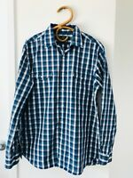 SPORTSCRAFT Size M Mens Blue Checked Long Sleeve Button Up Collared Formal Shirt