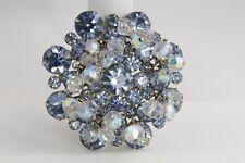 VINTAGE Jewelry D&E JULIANA BLUE RHINESTONE & CRYSTAL DANGLE BROOCH