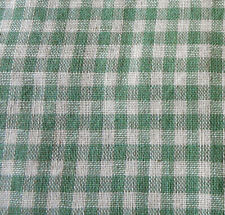 Antique Green Gingham Homespun Check Cotton Fabric ~ Dolls Quilts ~ early 1900