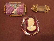 lot of three vintage handmade bronze gold lucite floral cameo brooch pin ornate