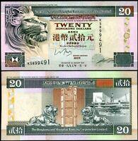 HONG KONG 20 DOLLARS 1997 P 201 HSBC UNC