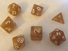 7 Dadi Set Poly multi lati D4 D6 D8 D10 D12 D20 Pearl Gold-WARHAMMER D&D