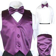 2 pc set 23 color Satin Vest Bow Tie for Kids Teen Children Boy Formal Suit 5-20