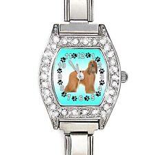 Afghan Hound CZ Ladies Stainless Steel Italian Charm Bracelet Wrist Watch BJ1162