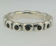Genuine Pandora Sterling Silver Black Spinel Band/Ring (Size M) 3.5mm Wide