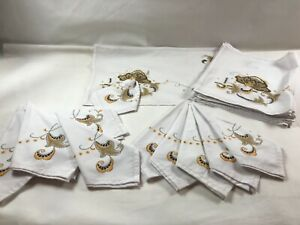 Beautiful 12 pc. Vintage Linen Placemats & Matching Napkins White w/ Golds