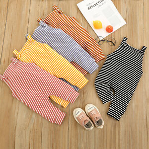 Newborn Infant Baby Boys Girls Sleeveless Striped Romper Jumpsuit Clothes