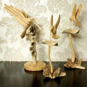 Humming Bird Mushroom Parasite Wood Ornament Carving Christmas Gift Idea
