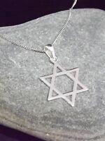 Plata de Ley 925 Estrella de David Colgante 16/45.7/50.8cm Collar para Regalo