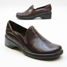 Clarks Ladies Size 7 M Elastic Brown Leather Wedge Comfort Loafers Brazil