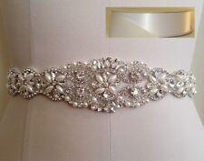 "Wedding Bridal Sash Belt, Crystal Pearl Belt = 17"" LONG in WHITE satin sash"