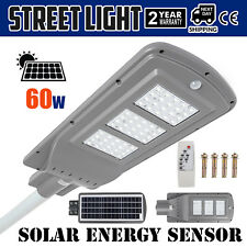 60W LED Solar Motion Activated Sensor Wall Street Light Outdoor Gray Waterproof