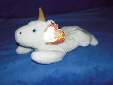 TY Beanie Babies Mystic the White Unicorn with tan horn & tags retired