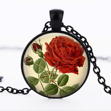 Vintage Red Rose Black Glass Cabochon Necklace chain Pendant Wholesale