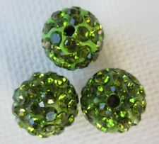 3PCS Olive Green Polymer Clay Crystal Shamballa Beads Diy Beads Zardenia
