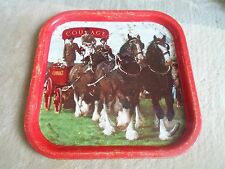 Vintage Beer Tray Advertising COURAGE BEER - With Shire Horses - Well used