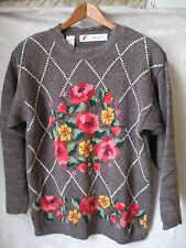 Vintage Chaus Woman Shoulder Pads Gray Sweater with Flower Pattern Size M