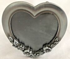 """Silvertone Floral 3 1/4 Heart Frame Holds 2X2 1/2"""" Photo"""