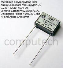 Condensatore per Audio in Polipropilene 220nF 0,22uF 450V 2%  MIFLEX MKP-01