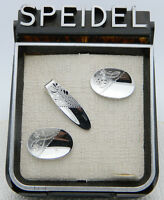 Vintage Silver Tone SPEIDEL Floral Embossed Cufflinks Tie Clip Old New Stock