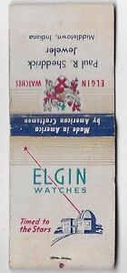 Matchbook Cover - Elgin Watches PAUL R. SHEDDRICK MIDDLETOWN, IN WORN