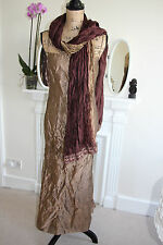 Monsoon Gold Crinkle Crushed Satin Gown Dress Maxi Strappy 10 S Scarf Evening !