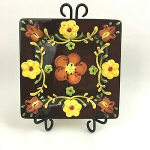 Pier 1 Imports Amanda Plates Chip Dish Brown Yellow Floral Square Replacement