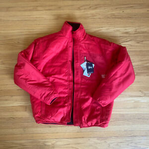 STUSSY REVERSIBLE JACKET - FLEECE LINING TEFLON OUTER - RED WINTER COAT VINTAGE