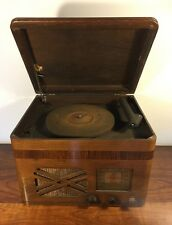 Vintage Templetone Record Player Radio Wood Cabinet Phonograph