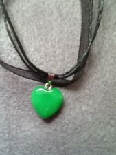 NATURAL GREEN JADE PUFF HEART GEMSTONE PENDANT+NECKLACE GIFT/BIRTHDAY/CHRISTMAS