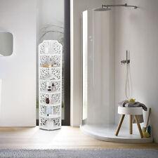 7-Tier Corner Wall Shelf Unit Storage Display Rack Wood Plastic Composite White