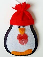 Handmade Shabby Chic Cute Penguin Felt Christmas Tree Decoration