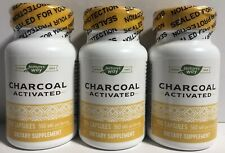 Natures Way Activated Charcoal High Absorbency 100 Capsules Each  LOT OF 3