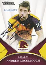 Signed Andrew McCullough Brisbane Broncos Autograph on 2016 NRL Card