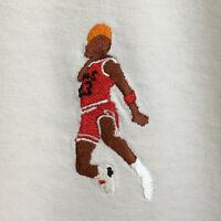 Michael Jordan Slam Dunk Embroidered Retro Basketball White Tee T-Shirt by AF
