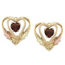 10k Black Hills Gold Garnet Heart Earrings