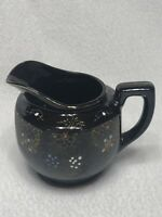 Vintage GLOSS BROWN GLAZE Hand-Painted Ceramic CREAM PITCHER Made in Japan