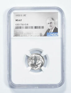 MS67 1955-S Roosevelt Dime - Graded NGC *652