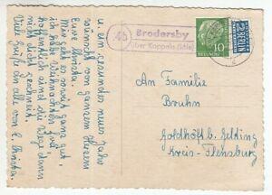 Landpoststempel 4 B Brodersby Sur Kappeln (Schlei) 1955