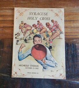 1963 SYRACUSE ORANGEMEN VS HOLY CROSS COLLEGE FOOTBALL PROGRAM HIGH GRADE NICE