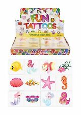 24 MERMAID & SEA TEMPORARY TATTOOS*PARTY BAG FILLER/ PRIZES*KIDS*FAVOURS*GIRLS*