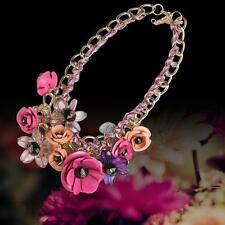 Flower Necklace Crystal Choker Chunky Chain Bib Collar Pendant Hermosa pink  UP