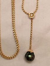 """Tahitian Pearl And Wheat Chain Y Necklace, 17"""" with 1.5"""" drop, 14K Yellow Gold"""