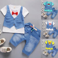 2PCS Kids Toddler Baby Boy Tie T-shirt Tops+Pants Gentleman Outfits Clothes Suit