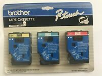 Brother P-Touch TC-40 Gold Black Blue White Red Tape Cassette 3 PCS NOS UNUSED