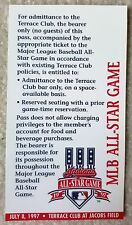 Official MLB 1997 ALL STAR GAME Cleveland Indians Terrace Club Pass Jacobs Field