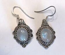 "Sterling Silver Moonstone Earrings 7/8"" Long."
